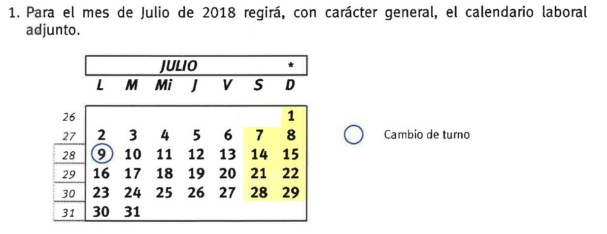 Julio Calendario.Calendario Laboral Para El Mes De Julio De 2018 En Seat Componentes