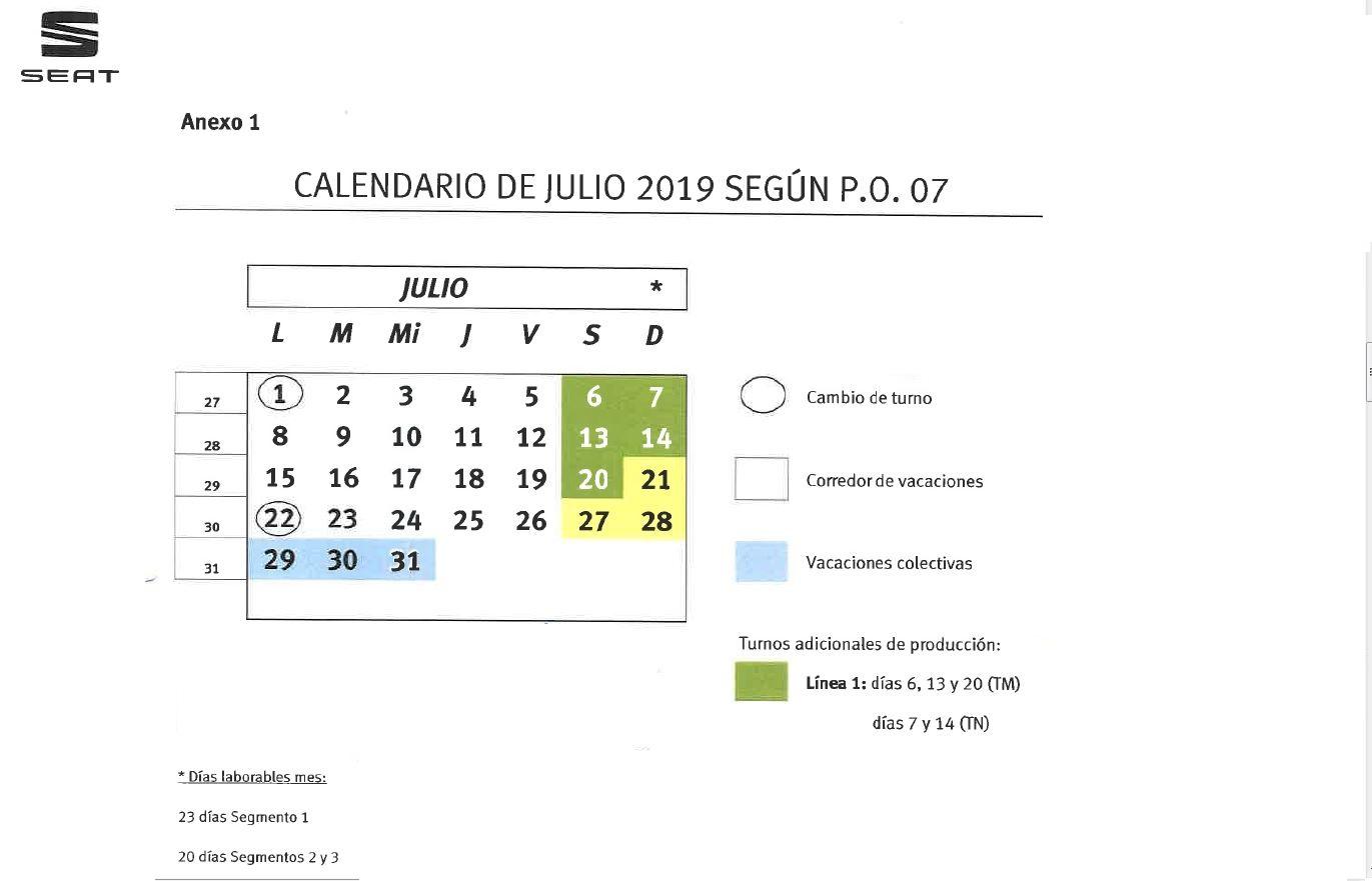 Julio Calendario.Calendario Julio 2019